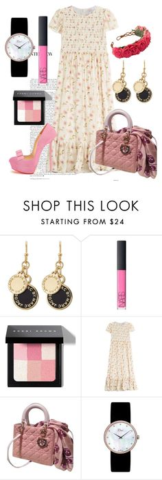"""""""DOLL STYLE"""" by polythuytien ❤ liked on Polyvore featuring Marc by Marc Jacobs, NARS Cosmetics, Bobbi Brown Cosmetics, RED Valentino and Christian Dior"""