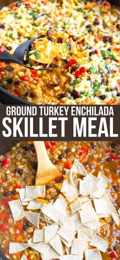 This one-pot Ground Turkey Enchilada Skillet Meal got rave reviews all around from my family. This will be a regular at our dinner table, for sure! 375 calories and 6 Weight Watchers SP | Healthy | Recipe | Easy | One Pot | One Pan | Green #groundturkey #enchiladas #onepotmeal #onepanmeal #healthydinners #wwrecipes #smartpoints One Pan Meals, No Cook Meals, Healthy Dishes, Easy Healthy Recipes, Ground Turkey Enchiladas, Skillet Meals, Skillet Recipes, Blog Food, Best Comfort Food