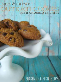 Soft & Chewy Pumpkin Cookies with Chocolate Chips -- might be tempted to use chopped dates instead of the chips. Fall Desserts, Just Desserts, Delicious Desserts, Dessert Recipes, Yummy Food, Sweet Desserts, Dessert Ideas, Tasty, Pumpkin Chocolate Chip Cookies