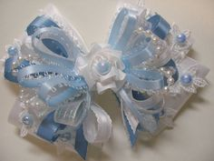 Pretty Baby Blue WHITE Satin & Lace Hair Bow Big by HareBizBows