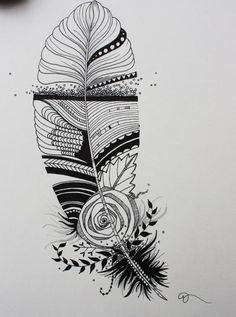 Original India Ink drawing or tattoo design Whimsical Abstract ...