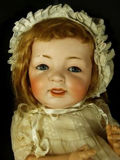 """___ Doll Kestner German Bisque Socket Head Baby Composition 1900 Open Mouth JDK 18"""" ___ Hi there...... original signed Kestner JDK 18"""" baby doll with the open mouth.  Marked 211 JDK on the back of her head..  Please note the photos.... the eyelashes are a little sparse.  Some minor flaking on the composition body  Replaced human hair wig"""