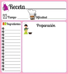 Mis Siete Palabras: Otro modelo de recetario! Homemade Recipe Books, Recipe Organization, Daily Organization, Girl Cooking, Printable Labels, Printable Recipe Cards, Food Web Design, Scrapbook Albums, Lettering