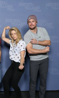Emily Bett Rickards and Stephen Amell at HVFF 2017.