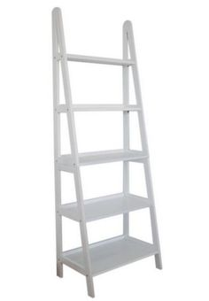 Five-Shelf Bookcase Open-Back Ladder Sturdy Home Office Furniture White Finish