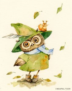 owl in green by Inga Paltser