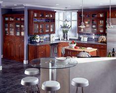 Cherry Kitchen in Autumn Blush Featuring Cascade Glass Doors - KraftMaid