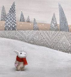 Perhaps not high art but it is a bunny--in a snow suit with a red scarf by lace trees...and that is enough.