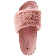 Qupid Faux Fur Slide Sandals (295 UYU) ❤ liked on Polyvore featuring shoes, sandals, flats, slides, mauve, cushioned flat shoes, qupid sandals, cushioned shoes, qupid shoes and flats sandals
