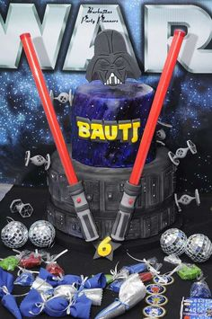 Check out this awesome birthday cake at this Star Wars birthday party! See more party ideas and share yours at CatchMyParty.com #starwars #birthdaycake