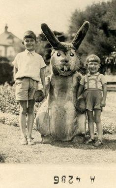 imaginary friends, vintage photos, rabbits, children, bunni