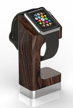 DODOcase Charging Stand for Apple Watch has a Californian walnut finish and a weighted steel base.