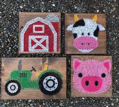 Made To Order Farm Quartet Tractor Barn Cow And Pig - Made To Order Farm Quartet Tractor Barn Cow And Pig String Art Nursery Decor Made To Order Farm Quartet Tractor Barn Cow And Pig String Art Nursery Decor Made To Order Farm Quartet Tra Cute Crafts, Crafts To Sell, Diy And Crafts, Arts And Crafts, String Art Diy, String Crafts, Resin Crafts, Pig Nail Art, Hilograma Ideas