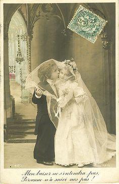 Vintage Postcard ~ Little Bride & Groom by chicks57, via Flickr