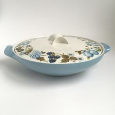 2 Qt Round Covered Casserole in Blue Vineyard by Iroquois by PowersMod on Etsy