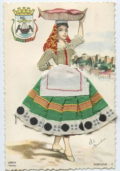 Lisboa Portugal Embroidered silk fabrics Portugal postcard Rag Dolls, Old Postcards, Embroidered Silk, Costume Dress, Silk Fabric, Vintage Ads, Old Women, Traditional Outfits, New Fashion