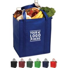Protect your groceries from the heat in this Insulated grocery tote. The W x H x D reusable bag is constructed of 80 gsm non-woven polypropylene and features reinforced handles, a gusset and thermo PEVA insulated lining. Personalized Lunch Bags, Insulated Bags, Swag Ideas, Non Woven Bags, Promotional Giveaways, Branded Gifts, Paper Shopping Bag, Shopping Totes, Bag Organization