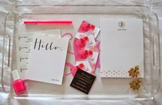 Customize a stationery set to fit your style and personality. @julieleah went with a pretty in pink theme for her paper goods.