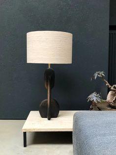 table lamp concrete/brass/silk / X+L House Worth, Interior Lighting, Ceiling Lamp, Light Decorations, Interior Inspiration, Bulb, Lights, Table Lamps, Concrete