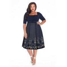 Plus Size Hayleigh Dress in Midnight Blue | IGIGI