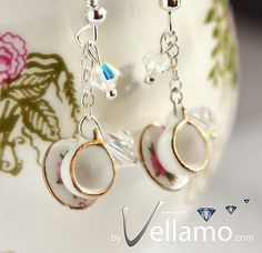 Sterling silver earrings with miniature porcelain teacups