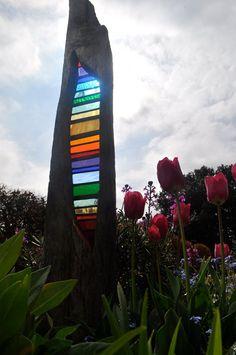Stained glass garden sculptures, Louise Durham