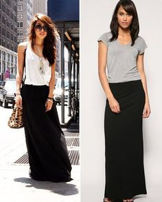 Ideas for a black maxi skirt. Especially love the white shirt one!