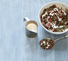 Pair softened Puy or black lentils with roasted red peppers and creamy yogurt.