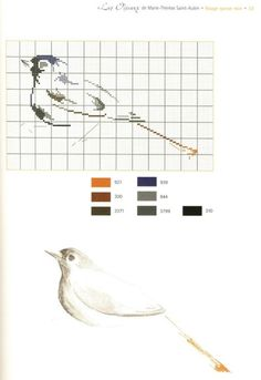 0 point de croix grille et couleurs de fils de marie therese st aubin, silhouette oiseau
