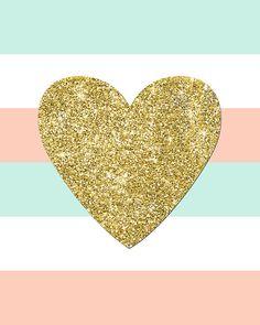 Buy 1 Get 1 Free Gold Glitter Heart Printable by EllenPrintable