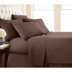 Bamboo Eco Friendly Egyptian Comfort Soft Silky Solid 6 Pieces Bedding Sheet Set