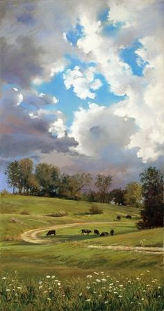 'Summer Pasture' - by Marcia WegmanThis reminds me of my trek through the hillside with Talon and Hunter in Autumn of 2016 Marcia Wegman Pastel Landscape, Watercolor Landscape, Landscape Art, Landscape Paintings, Watercolor Art, Summer Landscape, Landscape Architecture, Paintings I Love, Beautiful Paintings