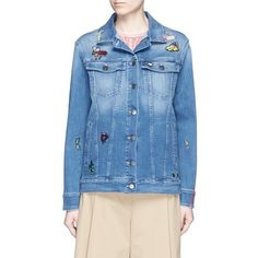 Mira Mikati 'Icons' embroidery patch denim jacket (10.581.445 IDR) ❤ liked on Polyvore featuring outerwear, jackets, blue, blue denim jacket, embroidered denim jacket, patched jean jacket, straight jacket and embroidered jacket