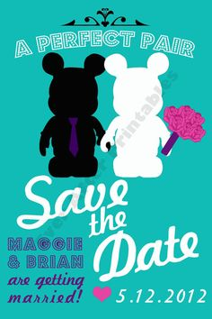 vinylmation save the dates MUST figure this out! our love of vinyls would really tie into this!