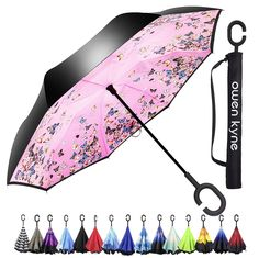 Amazon.com : Windproof Double Layer Folding Inverted Umbrella, Self Stand Upside-down Rain Protection Car Reverse Umbrellas with C-shaped Handle (New Peacock) : Sports & Outdoors