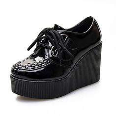 Tasteful Leather Wedges with Lace-up Casual Shoes(More Colors) – USD $ 69.99