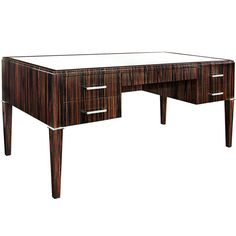 """""""Sun Star Desk"""" in Mirror Polished Macassar Ebony by Evan Lobel   From a unique collection of antique and modern desks and writing tables at https://www.1stdibs.com/furniture/tables/desks-writing-tables/"""