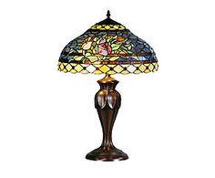 Lampada da tavolo stile Tiffany in vetro e metallo Chain - H 31 cm