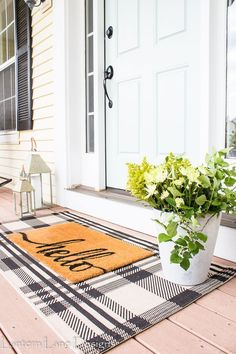 Outdoor Decor Ideas To Boost Your Home's Curb Appeal. Front Porch Decor Ideas Easy and affordable front porch decor ideas you can do to create a welcoming curb appeal for your home using a plaid rug, rocking chairs and some paint House Design, House, Home Projects, Farmhouse Decor, Home, Front Porch Decorating, House Exterior, House Styles, New Homes