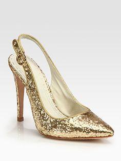 $295.00 Alice + Olivia - Darcy Glitter-Coated Leather Slingback Pumps - Saks.com
