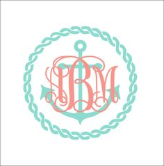 Anchor Rope Monogram Decal Car Decal Vinyl by CustomVinylbyBridge