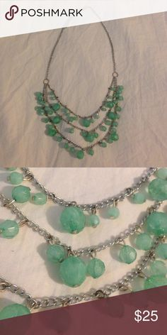 Teal Beads Statement Necklace Teal beads elegantly dangle from a silver chain. Looks brand new. Jewelry Necklaces