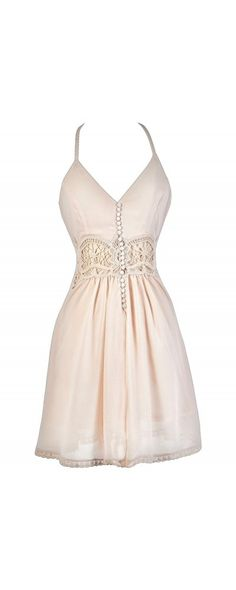 Cute As A Button Crochet Dress in Champagne Blush  www.lilyboutique.com