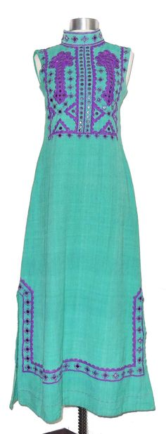Vintage 70s Linen Maxi Dress with Mirrors by MercantileRepublic