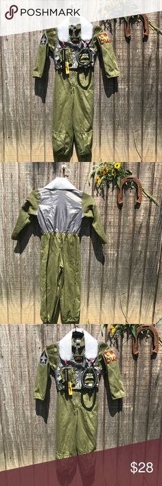Fighter Pilot Jumpsuit Costume Great condition just some cracks and defects to some of the plastic parts. Very cute costume Costumes Halloween