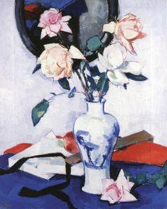 The Athenaeum - Pink Roses in a Japanese Vase (Samuel John Peploe - )