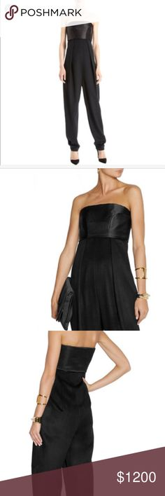 """The Row """"Topa"""" jumpsuit The Row Topa jumpsuit in black. Made of a 100% silk satin bodice and 100% cashmere on bottom. It is such a beautiful piece. Great for the upcoming fall and winter months/ red carpet. Comes from The Row fall winter 2013-2014 collection. Features a strapless top that is held up by inner boning lining and side zips. Inner branding label states a size 2 XS and could fit a 0-2. The inner fabric content label has some writing on it but not on brand label. Made in Italy…"""
