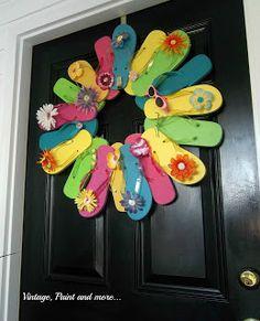 Vintage, Paint, and more.... Flip Flop Wreath