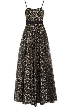 Badgley Mischka Embroidered organza gown   THE OUTNET