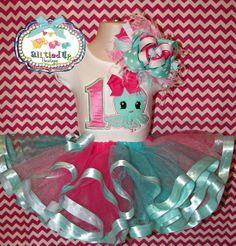 Under the Sea Themed Birthday Outfit Satin Trimmed Tutu Set With Embroidered Tee/Onesie, Over the Top Bow, and Tutu on Etsy, $65.00